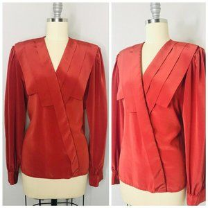 Vintage 80s Pleated Secretary Blouse Size L Large